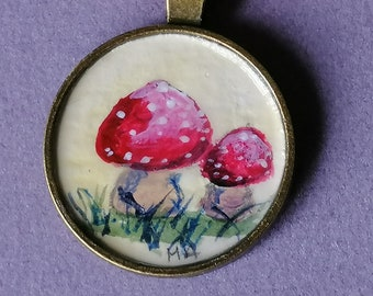 Toadstools ORIGINAL hand painted on a pendant 25mm