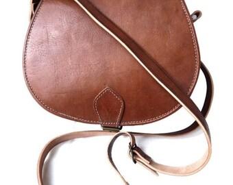 b323cb14d2 Moroccan Leather Saddle Handbag - 100% Naturel Leather Crossbody Bag Tan