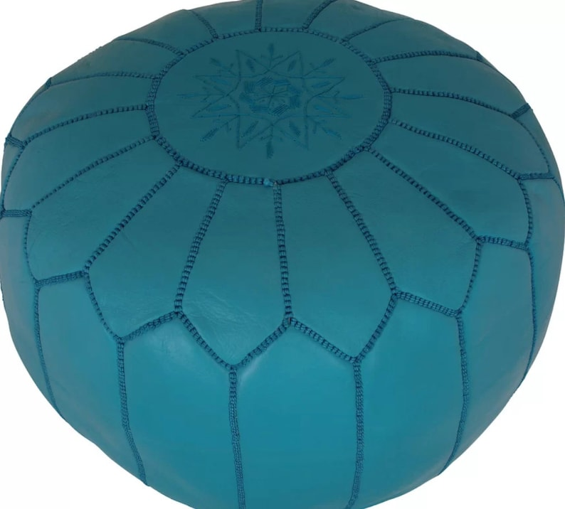 Turquoise Moroccan Pouf with Turquoise  Embroidery Home decor footstool pouf