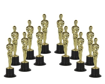 Gold Award Statue Trophy for Sports Award Party Favors -12 pack -Academy Awards Trophies