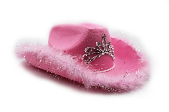 Childrens Cowgirl Pink Sequin Cowboy Hat with Tiara