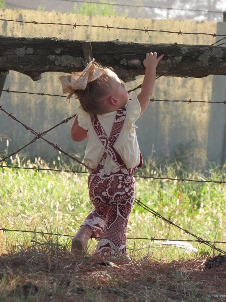 Ivory Boho Floral Overall Bell Romper Overall Romper Girls Romper Bell Bottoms Baby Romper Boho Kids Clothes Kids Boho Style