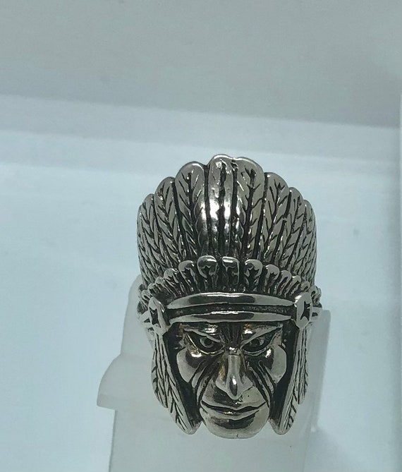 Native American Chief Head Ring. Chief head with h
