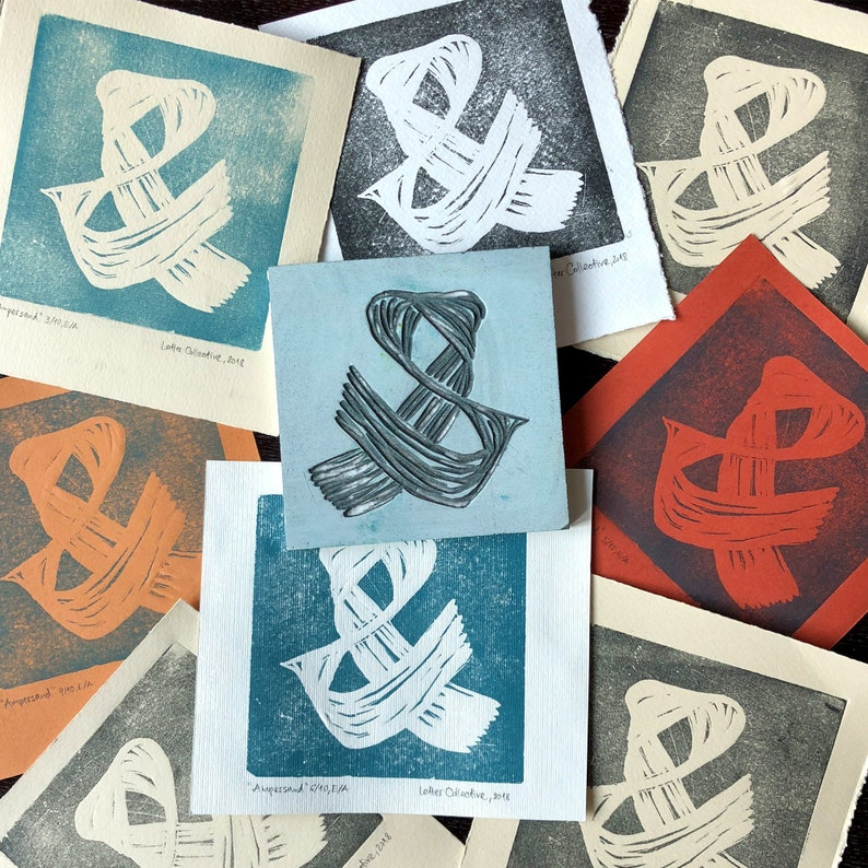 Ampersand   Linocut Handprinted Prints Handcrafted Graphic image 0