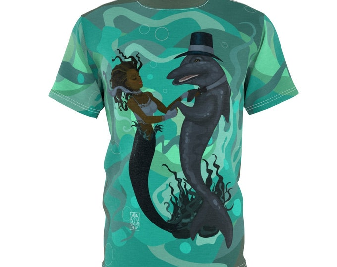 Featured listing image: A Mermaid's Dance- Unisex AOP Cut & Sew Tee