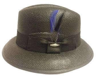 ce0bb7f71626c Black Blue Feather Fedora Derby Lowrider Straw Hat Brim