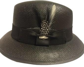 425095025fdbb Black Fedora Derby Lowrider Straw Hat Brim white and black feather