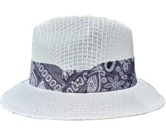 4572a89288ff7 Gray Bandana Paisley pattern Fedora Derby Lowrider Straw Hat Brim