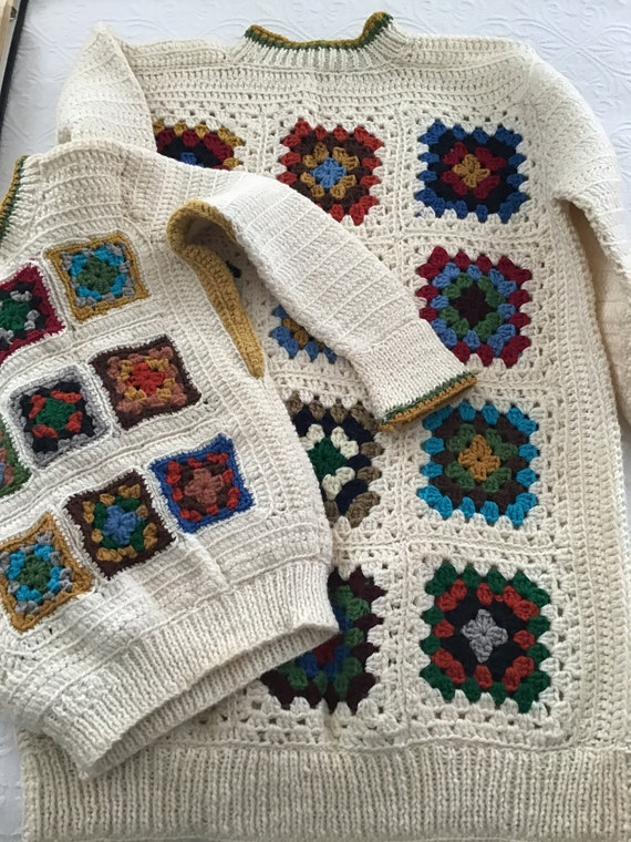 Vintage Hand-knitted Granny Square Sweaters   Vint