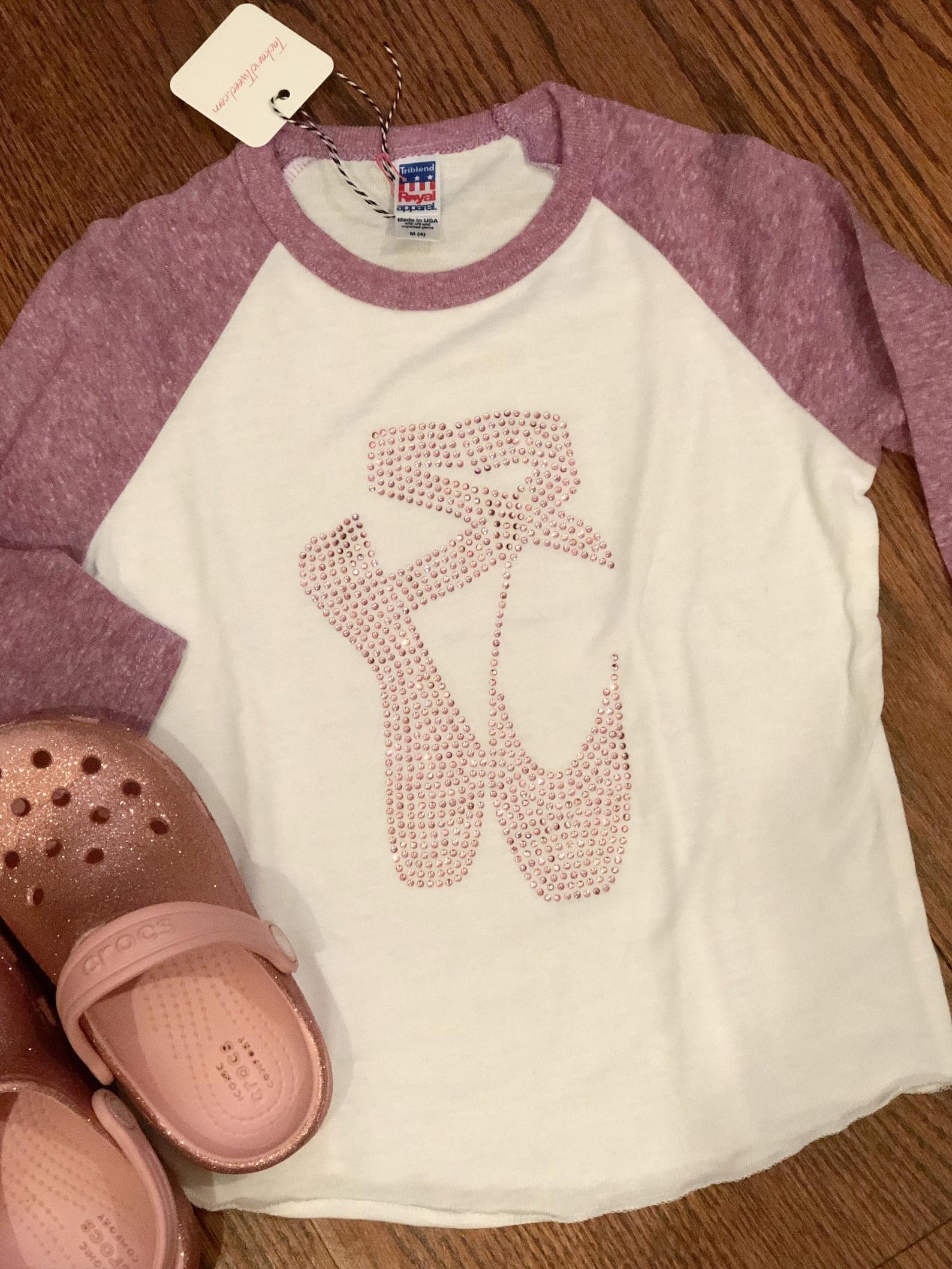 girl's ballet dance rhinestone shoes t-shirt youth and little kids baseball raglan pink purple 3/4 sleeve
