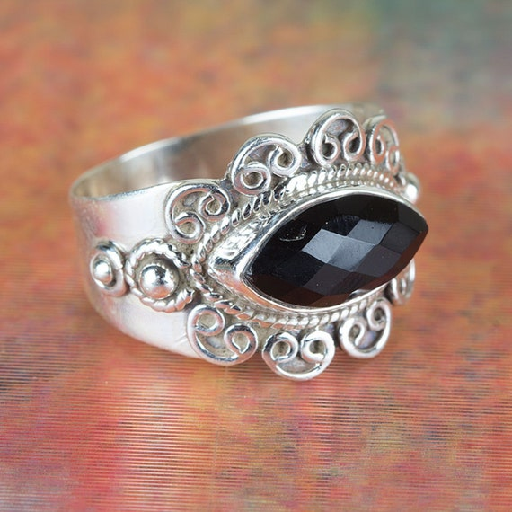 Black Onyx Dashing Ring 925 Sterling Silver Ring-December Birthstone,Promise Ring,Natural Black Onyx Ring-Handmade Silver Ring