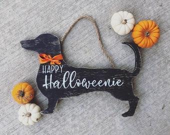 Halloween wreath,halloweenie dachshund door hanger,Halloween Datsun door hanger