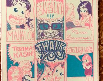 Thank You Card - Multi-language Risograph Original Print