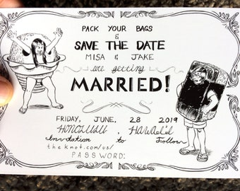Hand Drawn, Custom illustrated Wedding Invitation and Save the Date