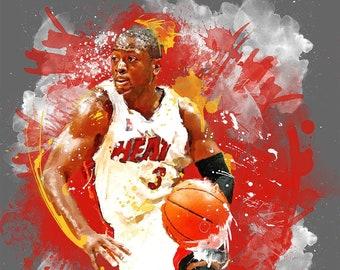 "NBA MIAMI HEAT Poster 30/"" x 8.5/"" Custom Name Painting Printing"