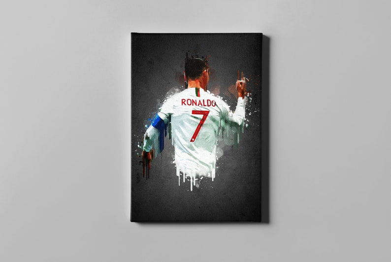 Cristiano Ronaldo Canvas sports soccer wall art postercanvas home decor great in a man cave or kids room CR7 artwork football print CANVAS