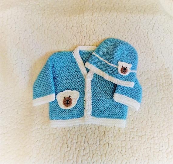 85ff747fe3 Cardigan et bonnet pour bébé garçon applique nounours. Fait | Etsy
