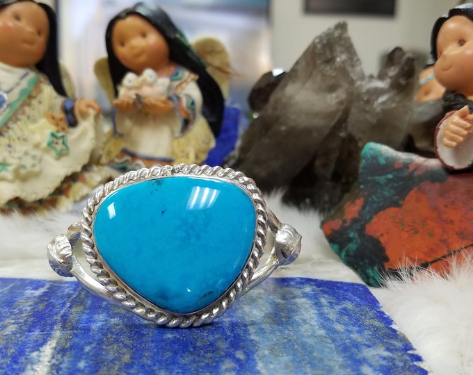 Featured listing image: Kingman High Grade Turquoise Cuff Bracelet. Sterling Silver Handcrafted Native American Made Jewelry