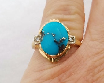 14K Diamond Ring, Morenci Turquoise Jewelry, Gold Band Ring. Vintage Jewelry.
