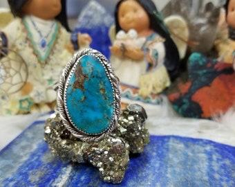 Royston Turquoise Ring in Sterling Silver Size 12.25, Handcrafted Native American designed Jewelry
