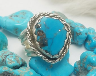 Morenci Turquoise ring,sz 12 Sterling Silver, Handcrafted Native American Design Jewelry