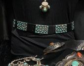 Native American Belt, Vintage Turquoise Concho Belt, Navajo Made Silver Belt, Old Pawn Sterling Silver