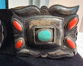 Turquoise Coral Leather belt, Large old Pawn Navajo Belt, Antique Silver repousse Concho Belt