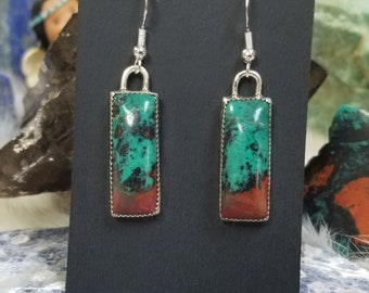 Stone Earrings, Sterling Dangle Sonora Sunrise, Chrysocolla, handcrafted Jewelry