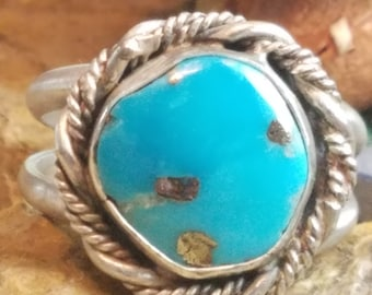 Morenci turquoise ring, 9.25 Sterling Silver band, handcrafted native american made jewelry, Southwest design ring, natural stone ring