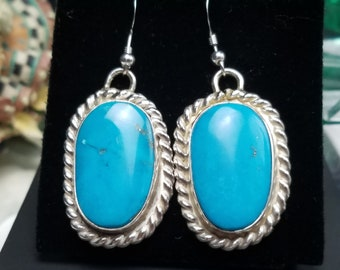 Turquoise Earrings, Sterling Silver Drop Earrings. Handcrafted Native American Made Jewelry.