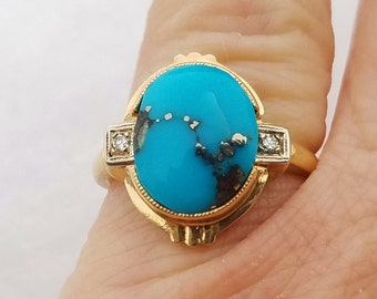 14k Diamond Turquoise ring, Vintage Morenci Turquoise, Engagement Ring for her, Anniversary Gift.