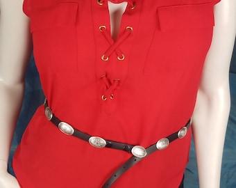 Sterling Concho Belt, Southwest Stamped Silver, Black Leather dress Belt