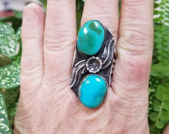 Royston Turquoise Ring, Unique Southwest Sterling Silver, multi stone Flower Ring, Handcrafted Native American made.