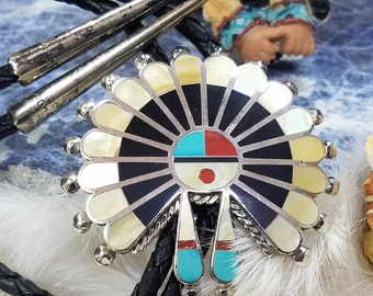 Mens Dress Tie, Southwest Leather Bolo, Zuni Sunface Bolo Tie. Vintage Turquoise Inlay Jewelry