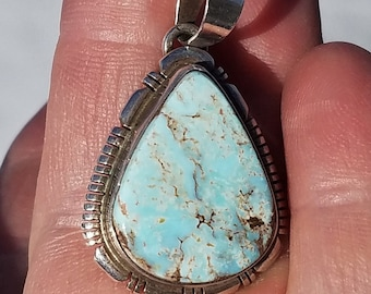 Turquoise Pendant, Native American Made, December Birthstone Jewelry, Vintage Turquoise Jewelry