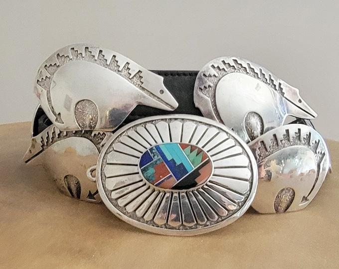 Featured listing image: Navajo Inlay Turquoise Belt, Sterling Bear Concho belt, Artist Tommy Jackson Original vintage leather Belt