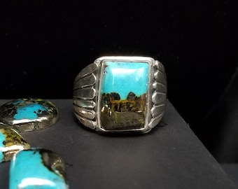 Morenci II Turquoise Ring, Sterling Silver Band, Handcrafted Native American Made Jewelry.