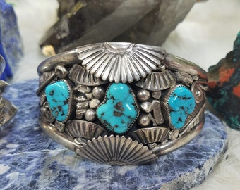 Navajo Cuff Bracelet, Vivid Blue Turquoise, Vintage Native American Jewelry, Heavy Sterling Cuff.
