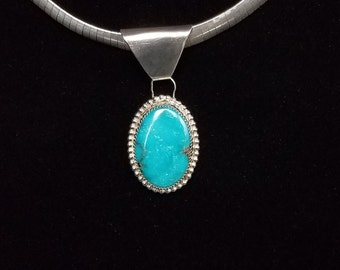 Kingman Turquoise pendant, Sterling Silver Handcrafted Jewelry