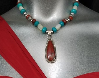 Turquoise Silver Bead Necklace. Sonora Sunrise. Natural Stone beaded Jewelry. Handcrafted Native American Made.