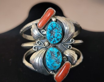 Vintage Red Coral Cuff,Turquoise  Stamped Sterling Silver Bracelet, Vintage Navajo Jewelry