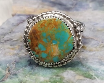 Kingman Turquoise Mountain Ring, size 10.5 Handcrafted Sterling Silver Heart Jewelry
