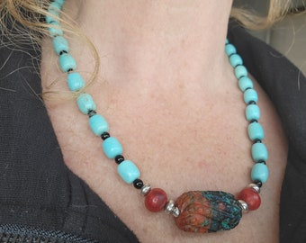 Sonoran Sunrise Campitos Turquoise Onyx beaded necklace, Handcrafted Native American Made Sterling Jewelry.