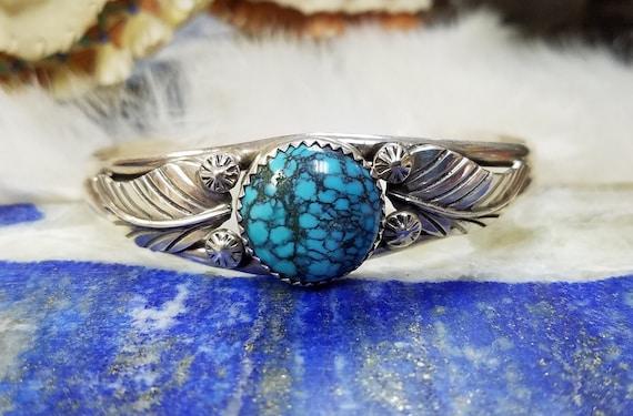 Vintage Spiderweb Turquoise Cuff Bracelet