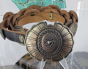 Vintage Sterling Concho belt for women, Handcrafted Heart Jewelry, Brown leather Dress belt, Old Southwest leather concho belt.