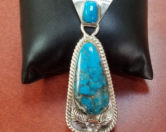 Morenci Turquoise Pendant, Sterling Silver, Handcrafted Jewelry featuring Vintage American Turquoise