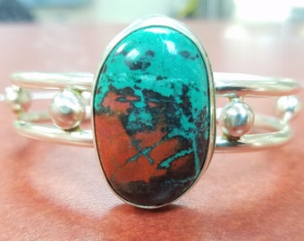 Sonora Sunrise Bracelet, Heavy Sterling Cuff, Natural Chrysocolla Bracelet, Handcrafted Native American Made Jewelry