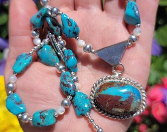 Bisbee Turquoise Necklace, Sterling Silver Beaded heishi Stacker necklace