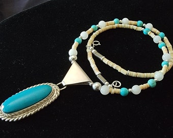 Turquoise Heishi Necklace, Beaded Kingman Turquoise Pendant, Sterling Silver handcrafted, Native American Made.