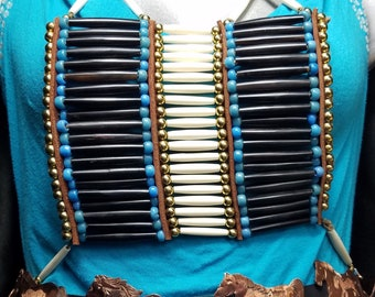 Native American Chest plate, Beaded Bib Necklace, Ceremonial Accessories